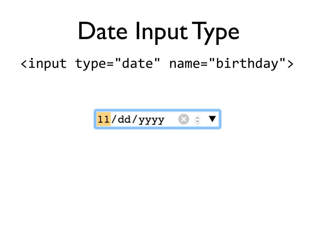 "<input'type=""date""'name=""birthday""> Date Input ..."