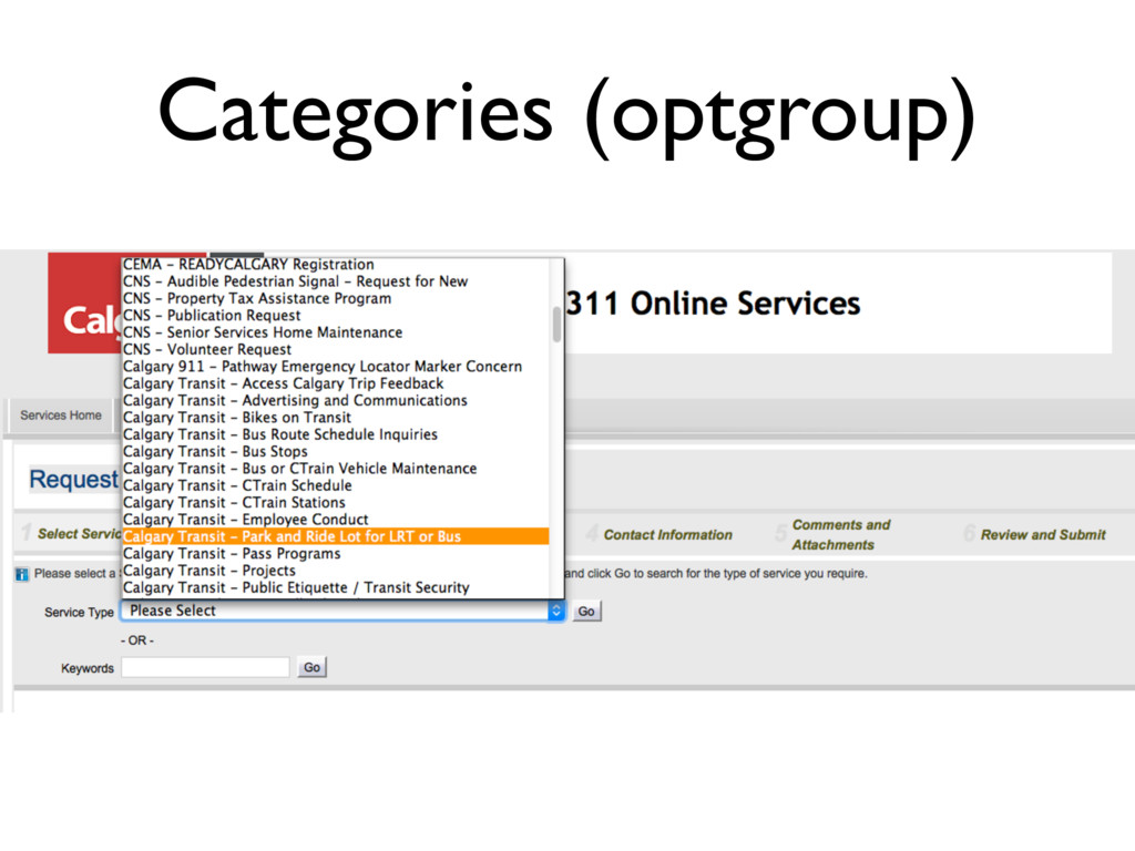 Categories (optgroup)