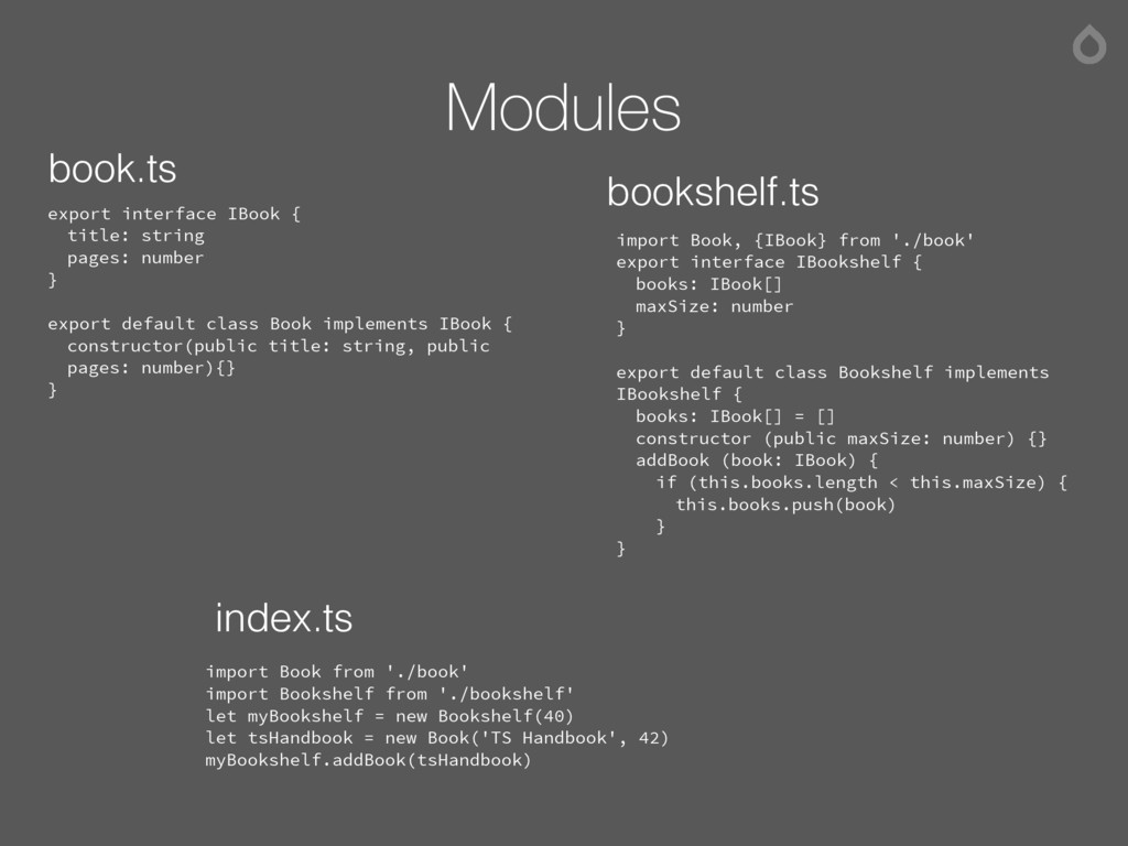 Modules export interface IBook { title: string ...
