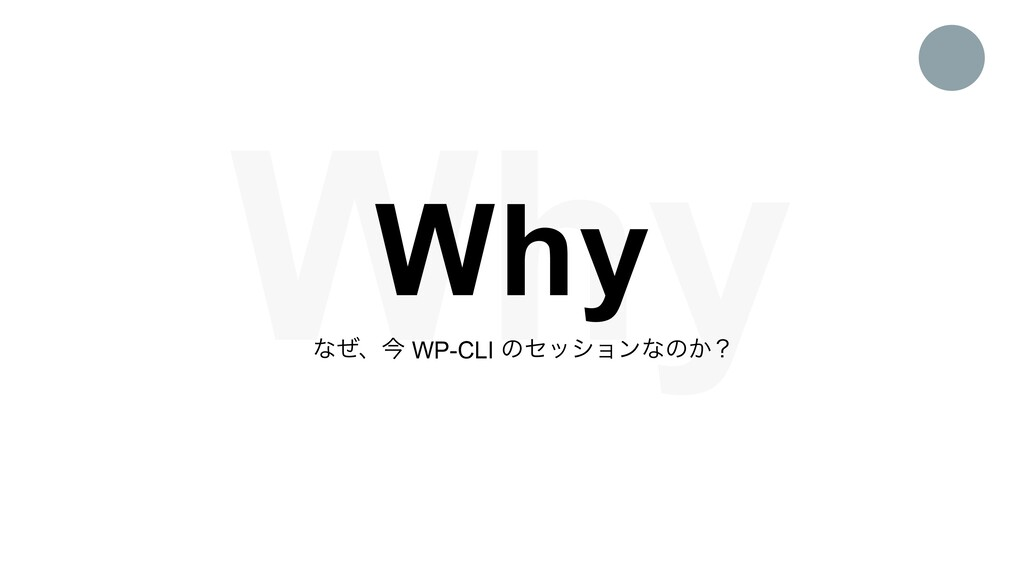 Why Why ͳͥɺࠓ WP-CLI ͷηογϣϯͳͷ͔ʁ