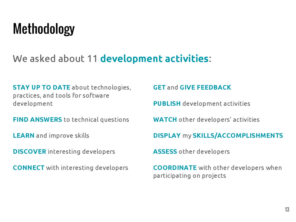 Methodology We asked about 11 development activ...