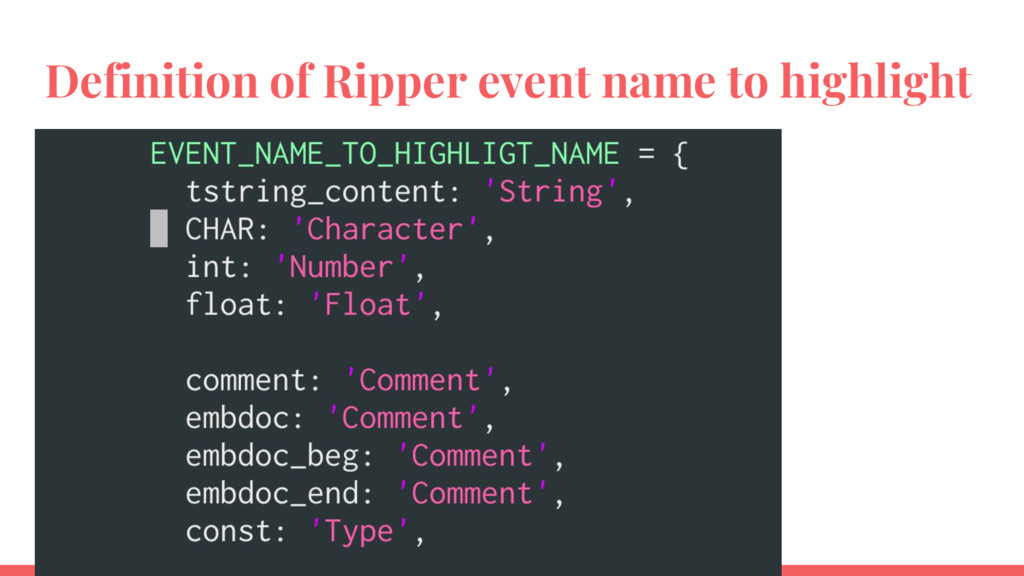 Definition of Ripper event name to highlight