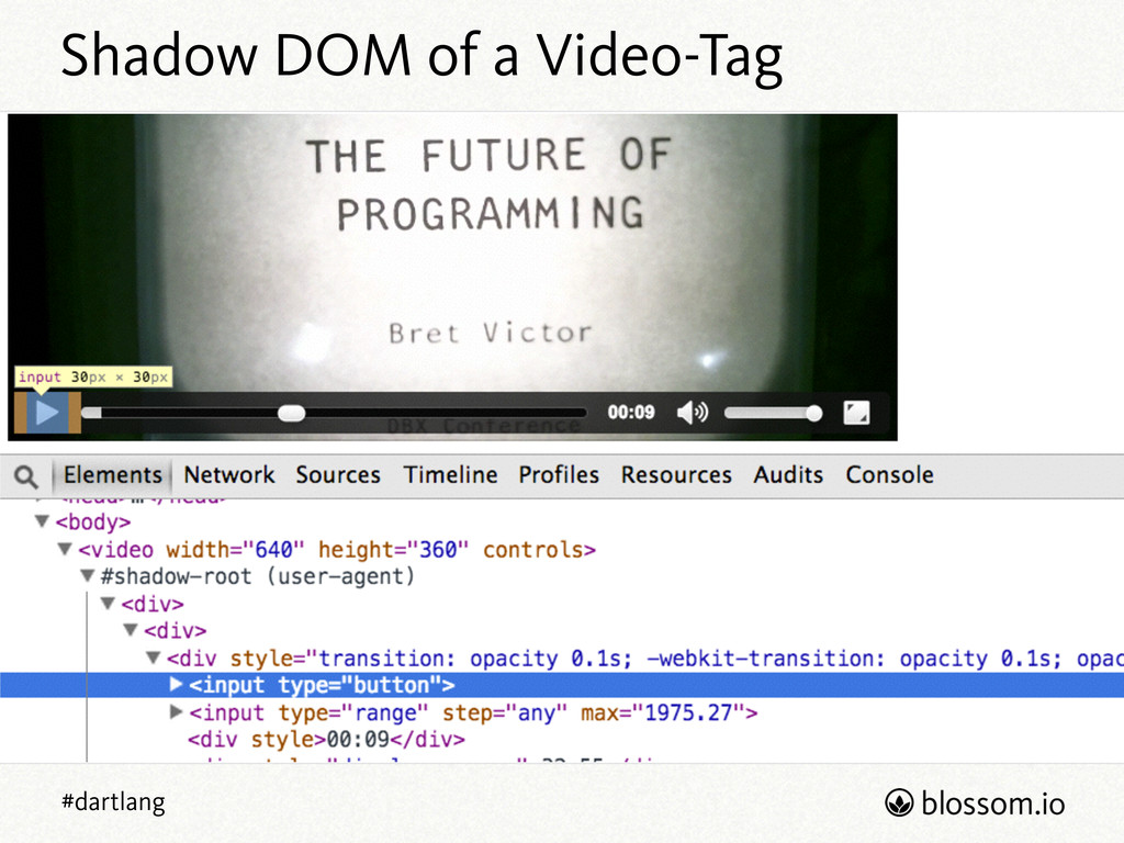 #dartlang Shadow DOM of a Video-Tag