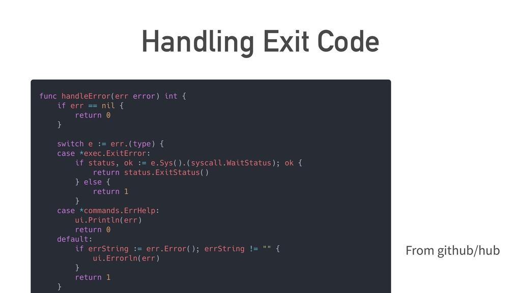 Handling Exit Code From github/hub