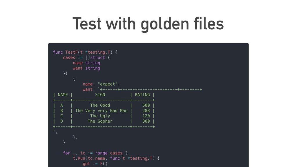 Test with golden files