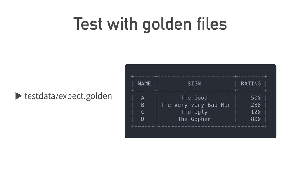 Test with golden files ば testdata/expect.golden