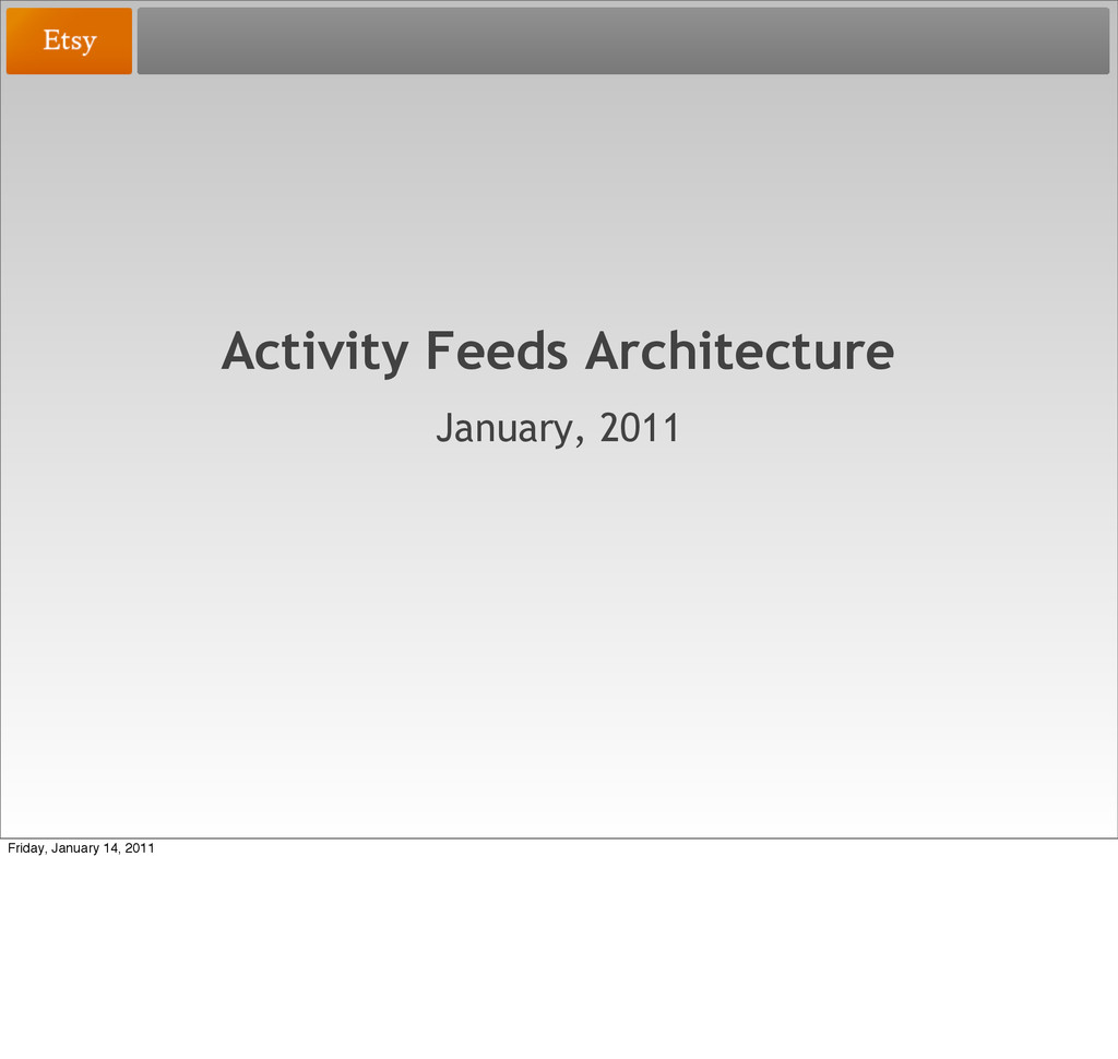 Activity Feeds Architecture January, 2011 Frida...