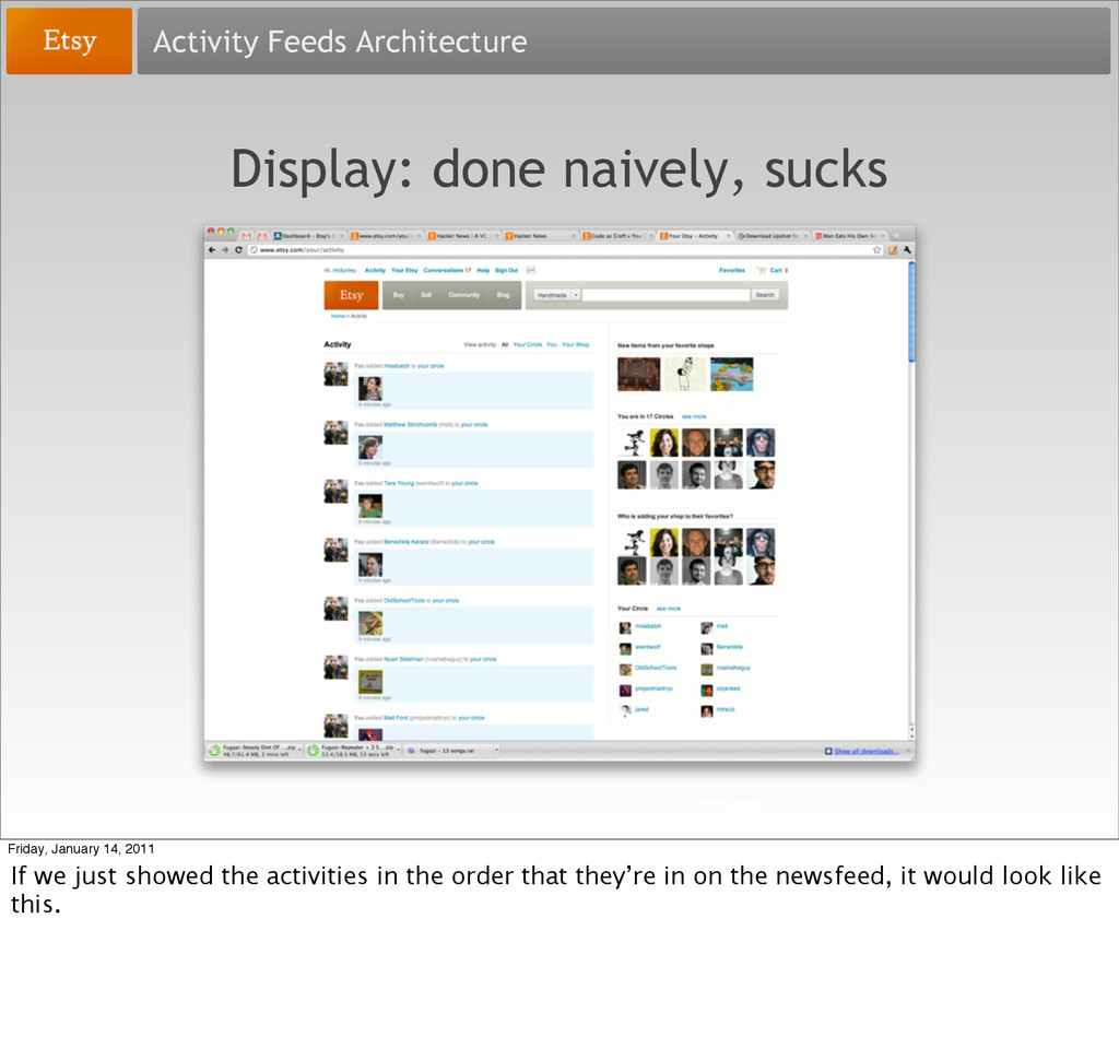 Activity Feeds Architecture Display: done naive...