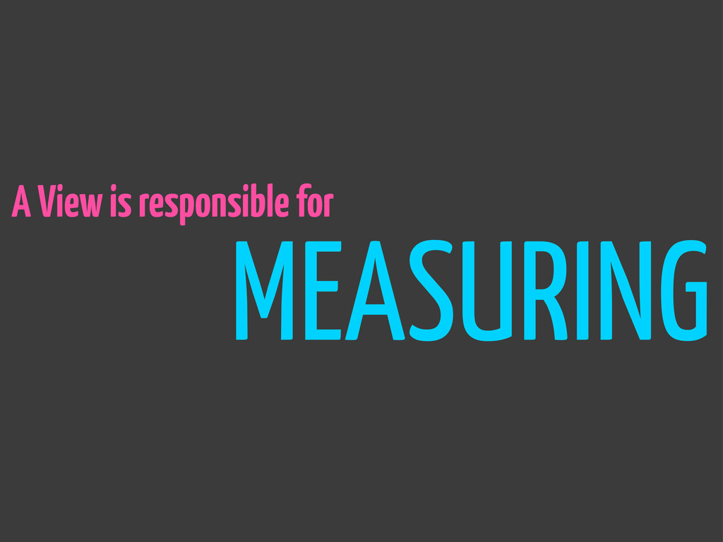 A View is responsible for MEASURING