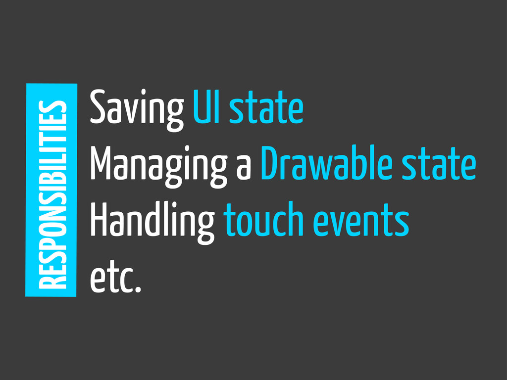 Saving UI state Managing a Drawable state Handl...