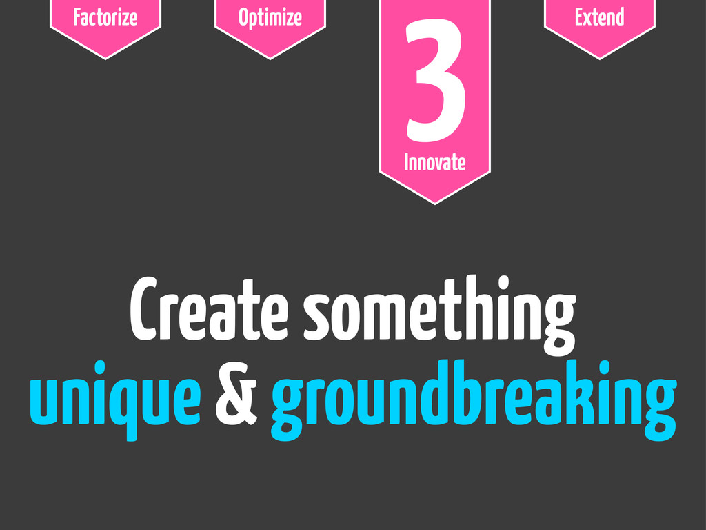 Factorize Optimize 3 Innovate Extend Create som...