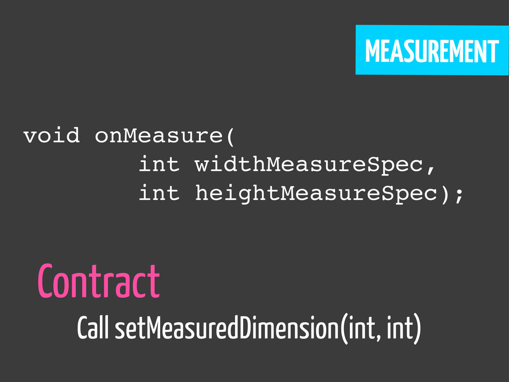 MEASUREMENT void onMeasure( int widthMeasureSpe...