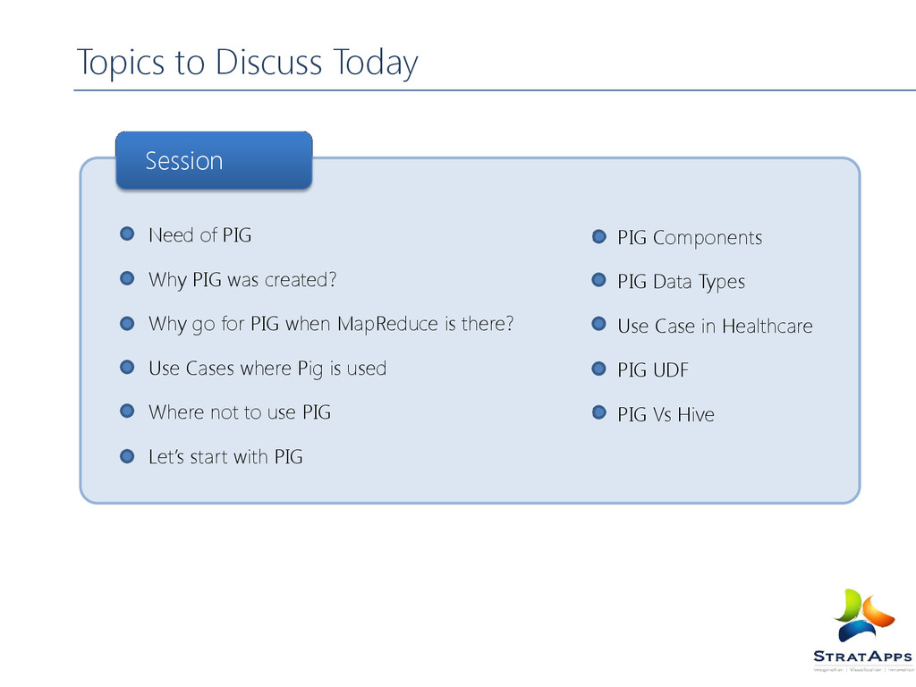 Topics to Discuss Today Need of PIG Why PIG was...