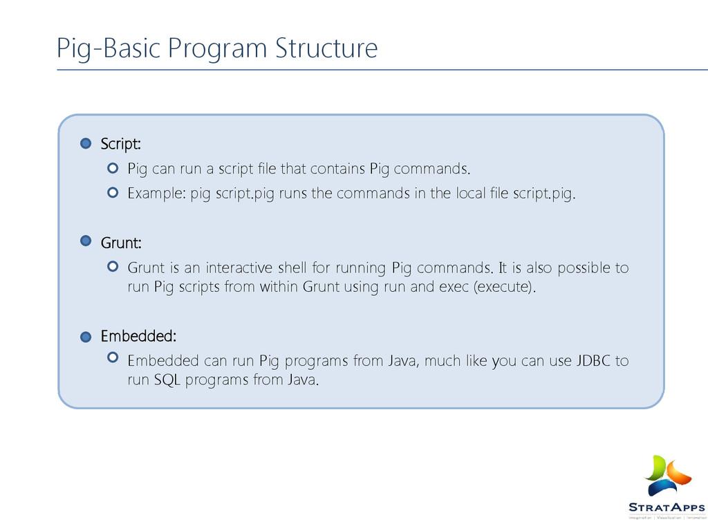 Pig-Basic Program Structure Script: Pig can run...