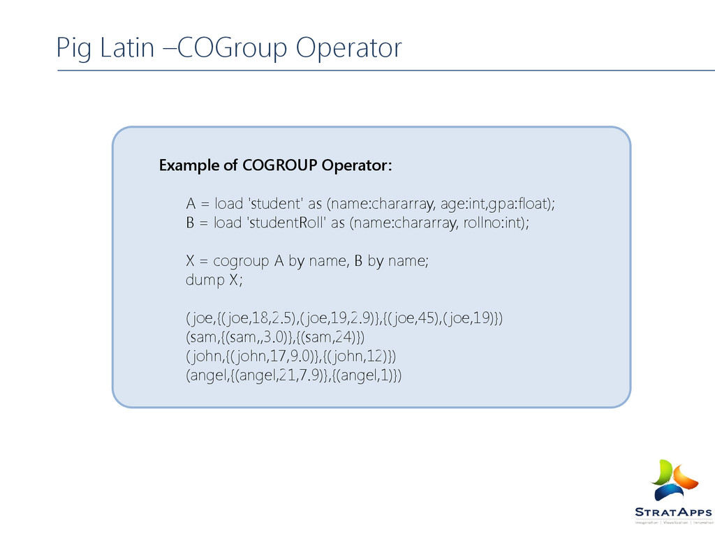 Example of COGROUP Operator: A = load 'student'...
