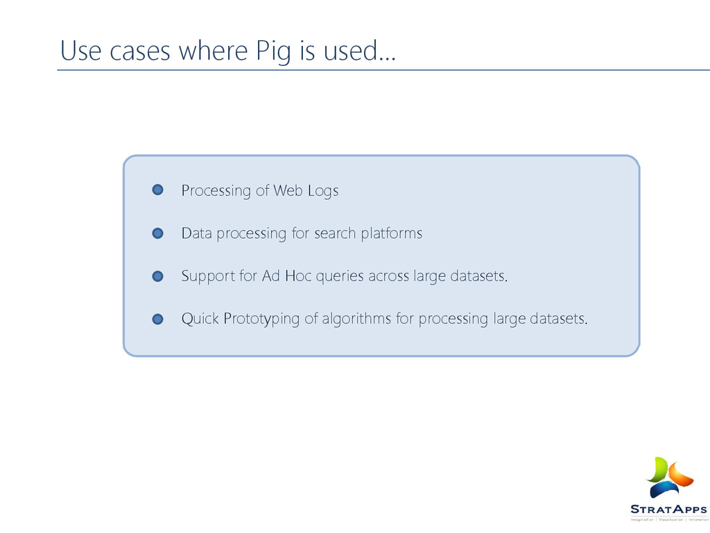 Use cases where Pig is used… Processing of Web ...
