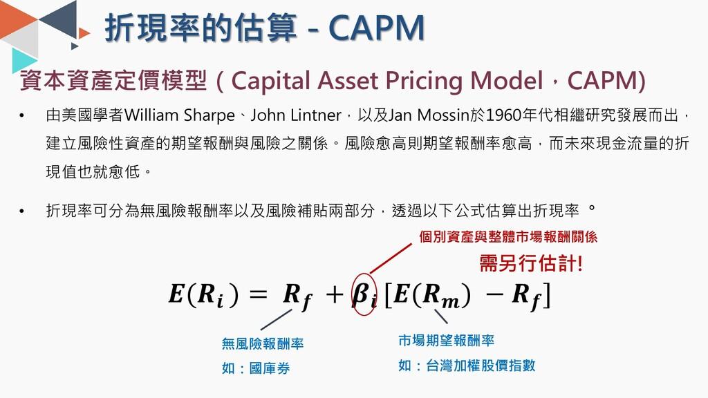 折現率的估算 - CAPM 資本資產定價模型(Capital Asset Pricing Mo...