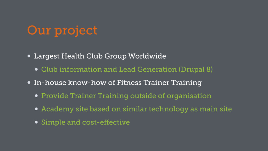 Our project Largest Health Club Group Worldwide...