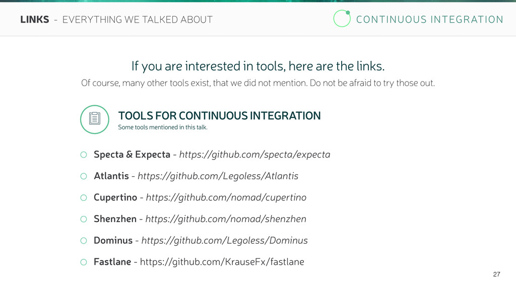 CONTINUOUS INTEGRATION 27 LINKS - EVERYTHING WE...