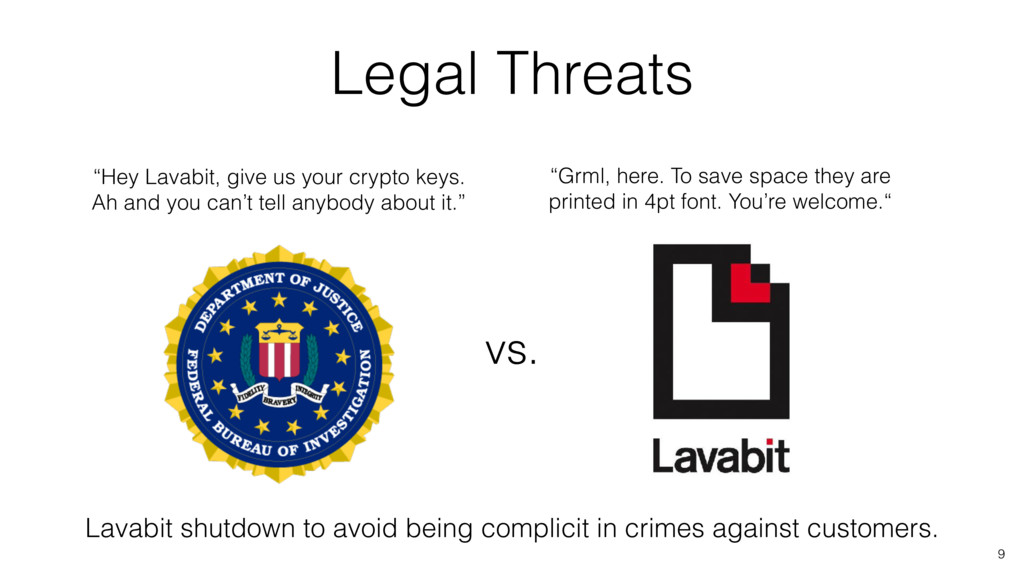 """9 Legal Threats vs. """"Hey Lavabit, give us your ..."""