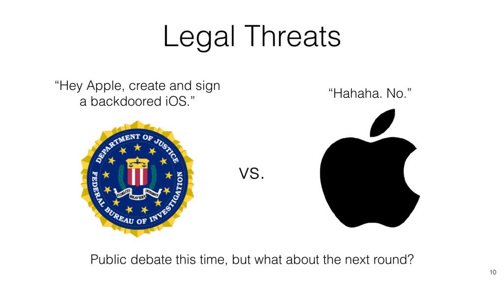 "Legal Threats vs. 10 ""Hey Apple, create and sig..."
