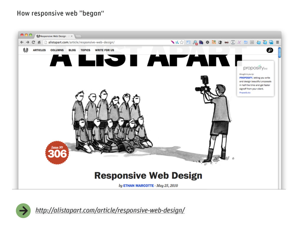 "How responsive web ""began"" http://alistapart.co..."