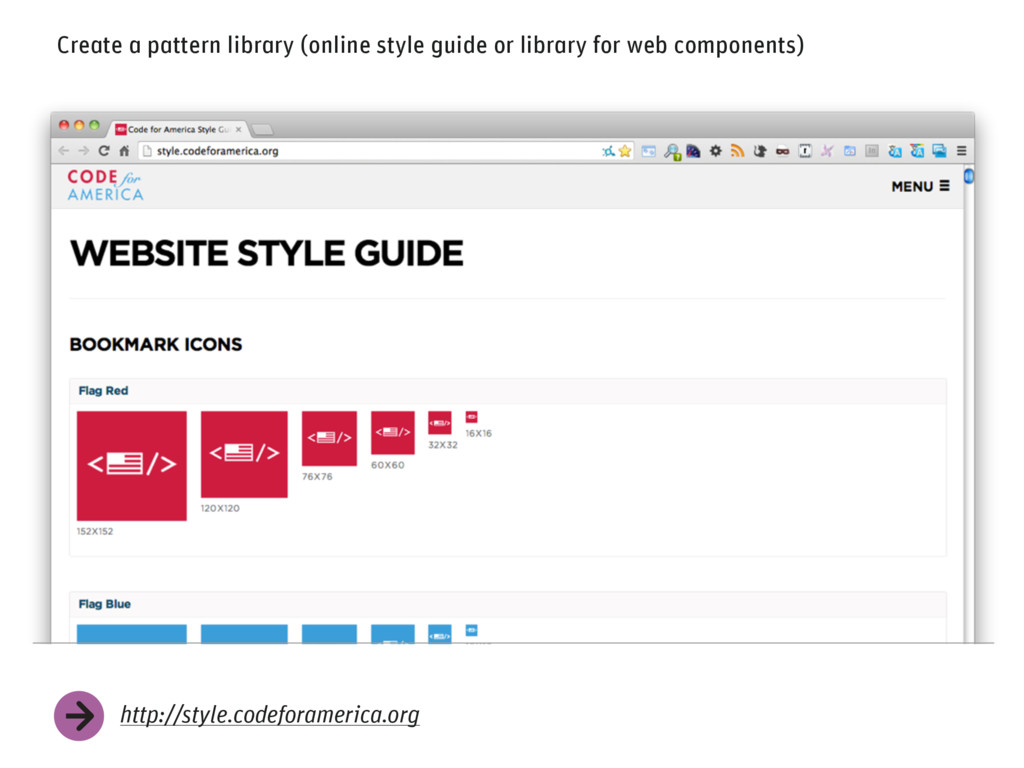 Create a pattern library (online style guide or...
