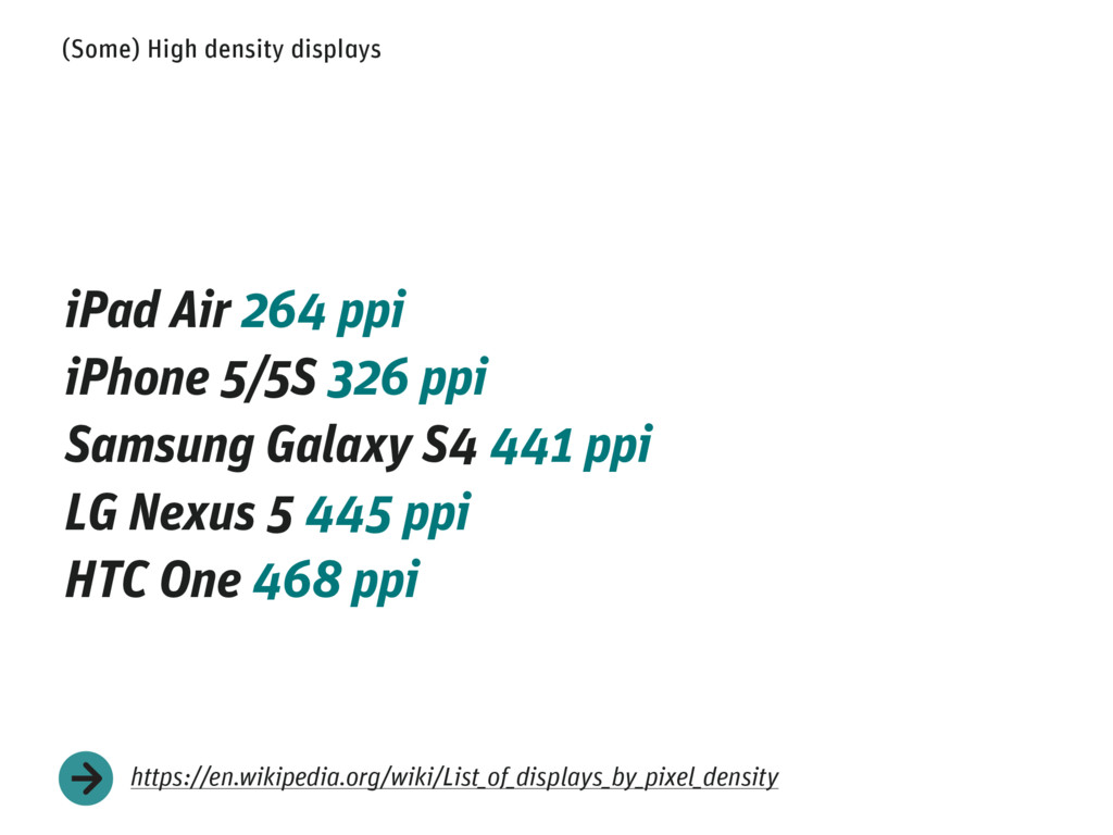 (Some) High density displays iPad Air 264 ppi i...