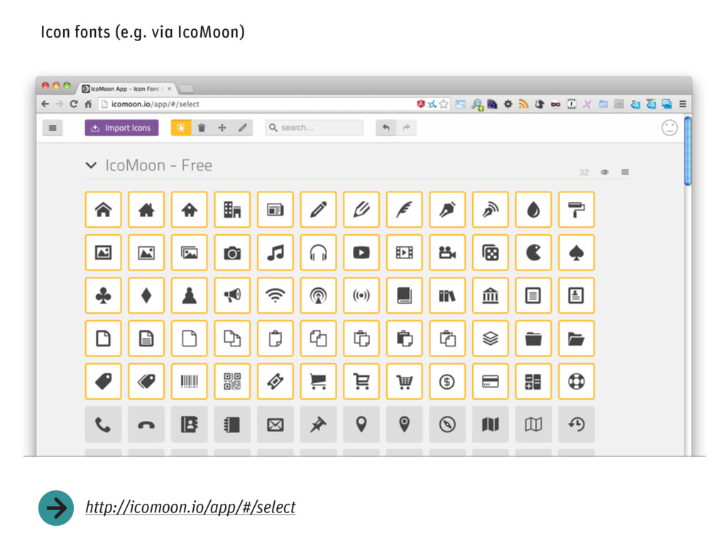 Icon fonts (e.g. via IcoMoon) http://icomoon.io...