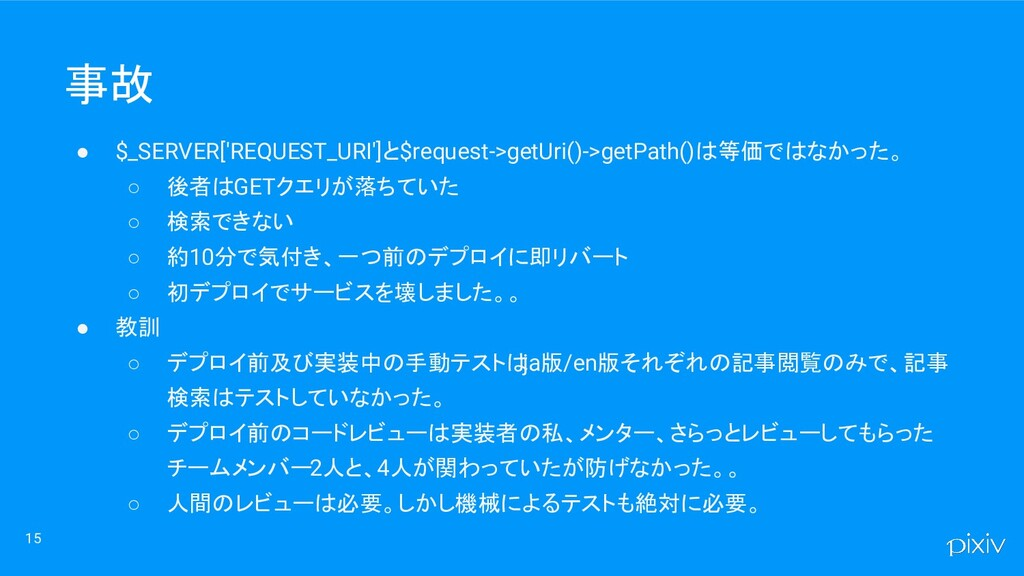 15 ● $_SERVER['REQUEST_URI']と$request->getUri()...