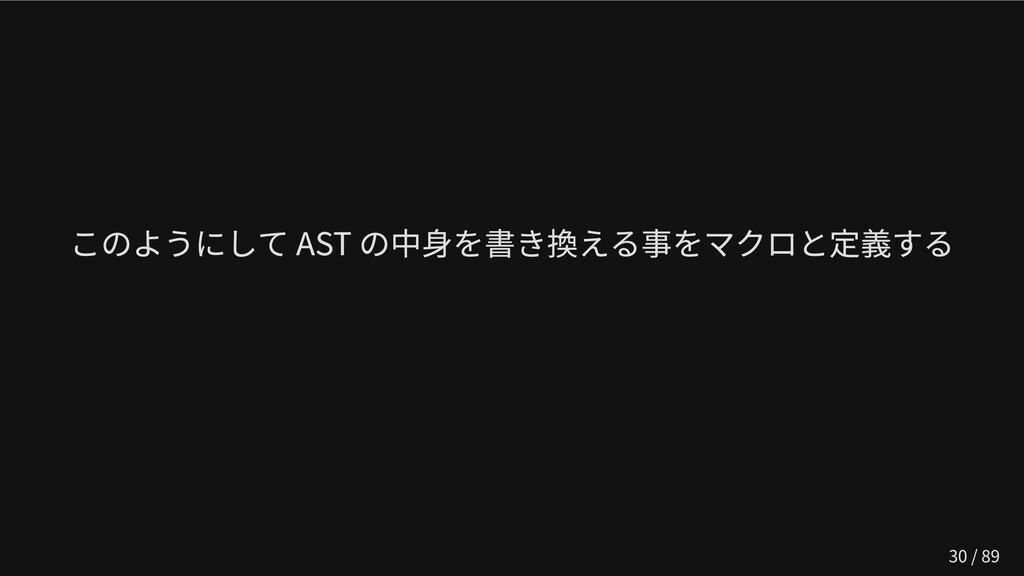 このようにして AST の中身を書き換える事をマクロと定義する   30 / 89