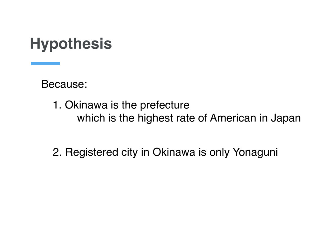 Hypothesis 2. Registered city in Okinawa is onl...
