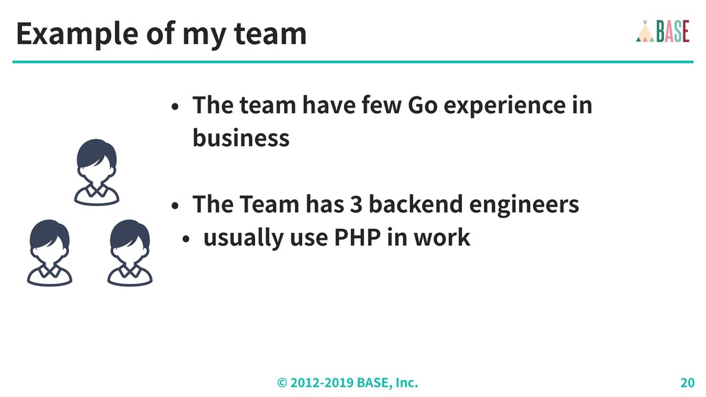 © - BASE, Inc. Example of my team • The team ha...