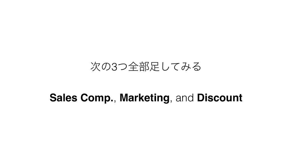 ͷ3ͭશ෦ͯ͠ΈΔ Sales Comp., Marketing, and Discount