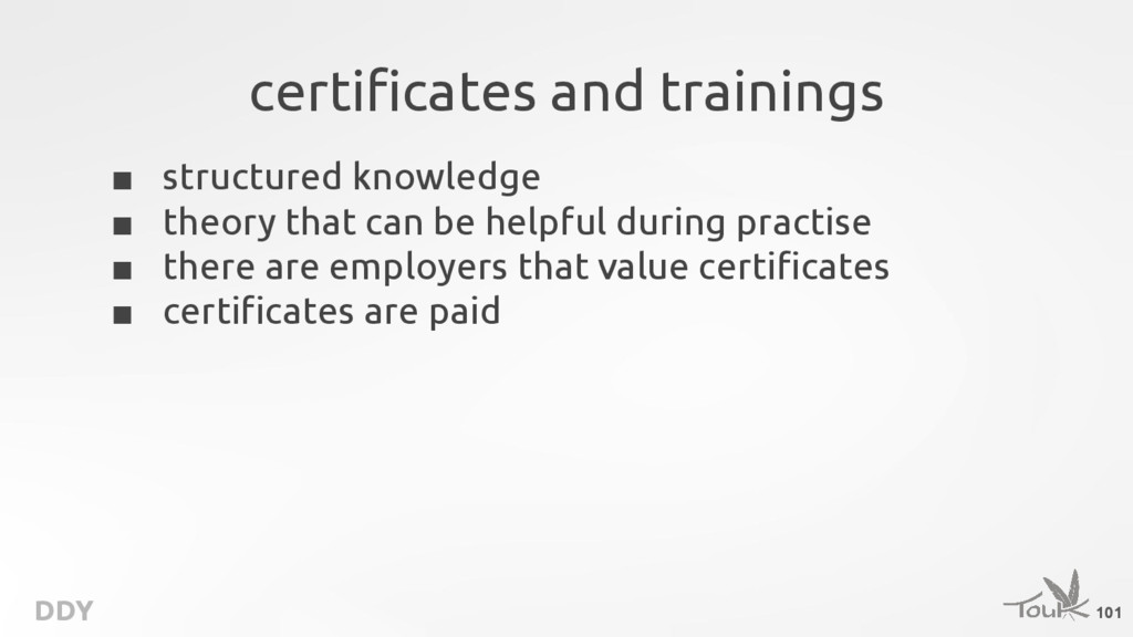 DDY certificates and trainings ■ structured kno...