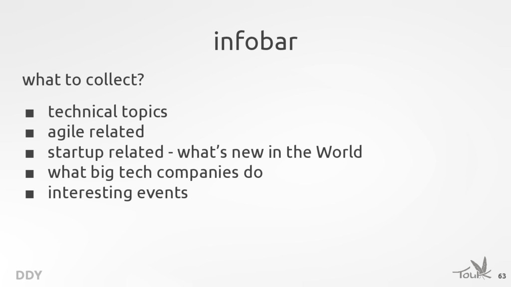 DDY infobar what to collect? ■ technical topics...