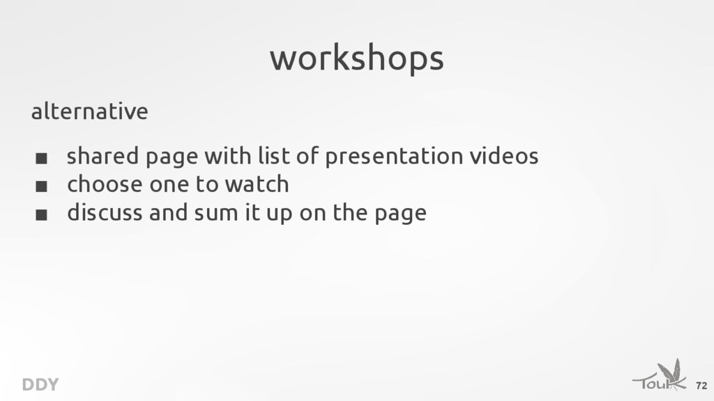 DDY workshops alternative ■ shared page with li...