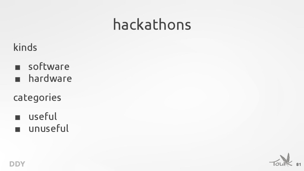 DDY hackathons kinds ■ software ■ hardware cate...