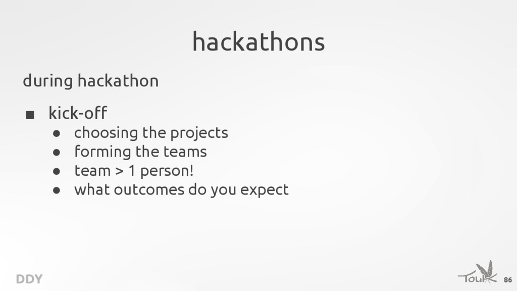 DDY hackathons during hackathon ■ kick-off ● ch...