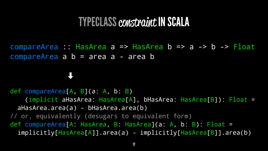 TYPECLASS constraint IN SCALA compareArea :: Ha...