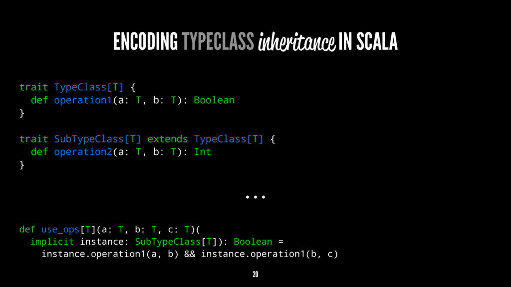 ENCODING TYPECLASS inheritance IN SCALA trait T...