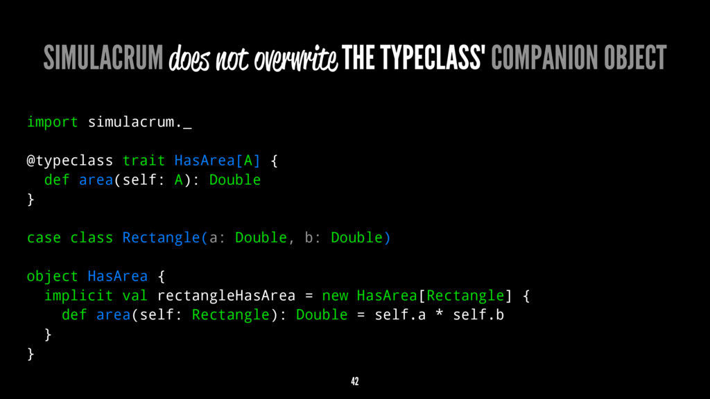 SIMULACRUM does not overwrite THE TYPECLASS' CO...