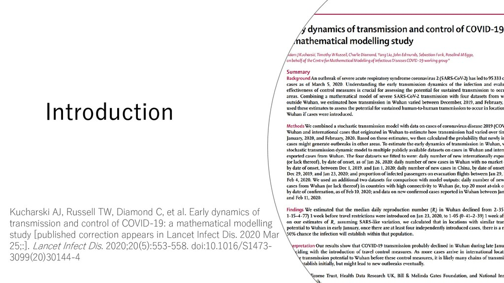 Introduction Kucharski AJ, Russell TW, Diamond ...