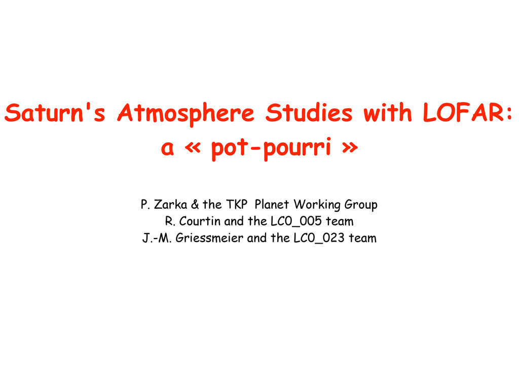 Saturn's Atmosphere Studies with LOFAR: a « pot...