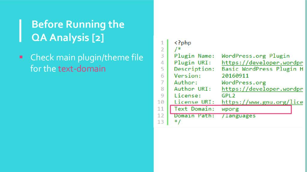 Before Running the QA Analysis [2]  Check main...