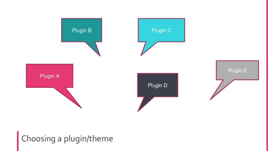 Choosing a plugin/theme Plugin A Plugin B Plugi...