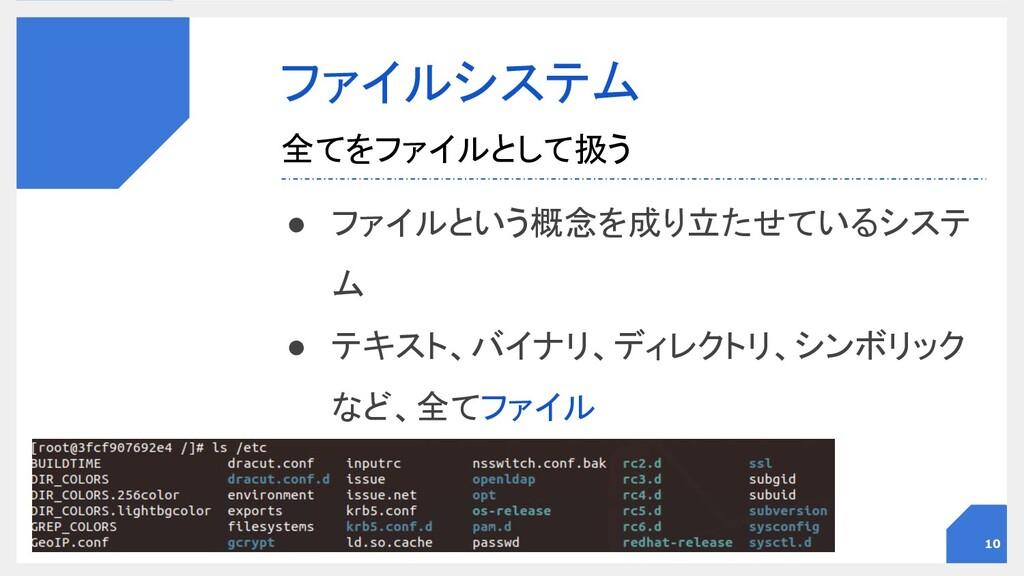 ファイルシステム ● ファイルという概念を成り立たせているシステ ム ● テキスト、バイナ...