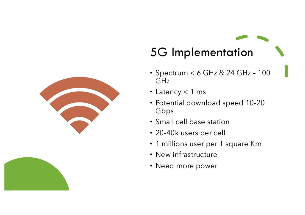 5G Implementation • Spectrum < 6 GHz & 24 GHz –...