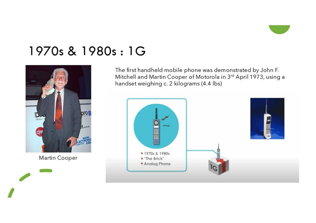 1970s & 1980s : 1G The first handheld mobile ph...