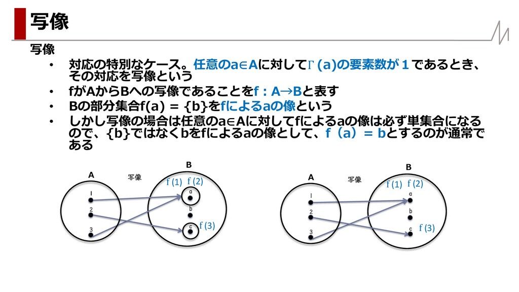写像 • 対応の特別なケース。任意のa∈Aに対してΓ (a)の要素数が1であるとき、 その対応...